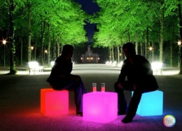 """40 cm 16"""" Outdoor LED Cordless Cube Chair Color Changing Light"""