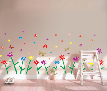 Multi Color Flower Shower Wall Decal Sticker