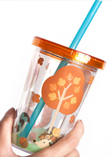 Tanana Cute Forest Animal Print Iced Drink Tumbler with Sealed Lid and Straw 280ml, 10oz