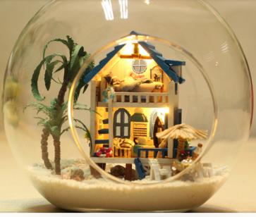 Aegean Sea DIY Miniature House Model Glass Globe Ornament with Led Lights Christmas Gift Idea