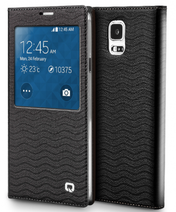 Executive Premium Handcrafted Leather S-View Case for Galaxy S5 Black Ripples