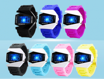 Stylish Waterproof LED Sports Stealth Aircraft Watch Silicone Strap