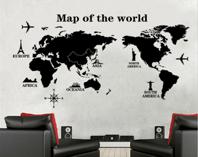 World Map Wall Decal Sticker Tablet Phone Case