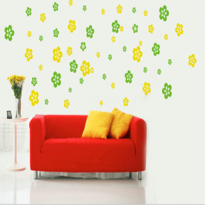 Green and Yellow Flower Shower Wall Decal Sticker