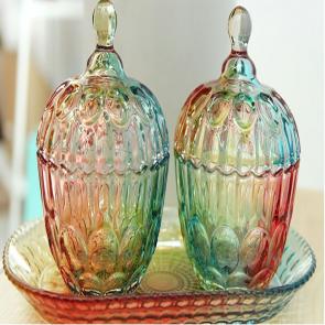 Home Decor Set of 3 Designer Multi Color Candy Cookie Jars
