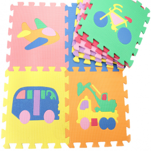 Complete Foam Cute Pop Out Puzzle Gym Mat for Baby and Kid Animals, Vehicles, Fruits