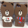Line 3D Brown Bear Character for iPhone 6 6s Plus